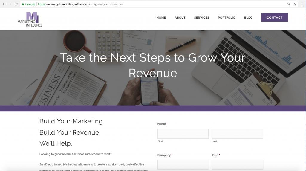 Marketing Influence Landing Page