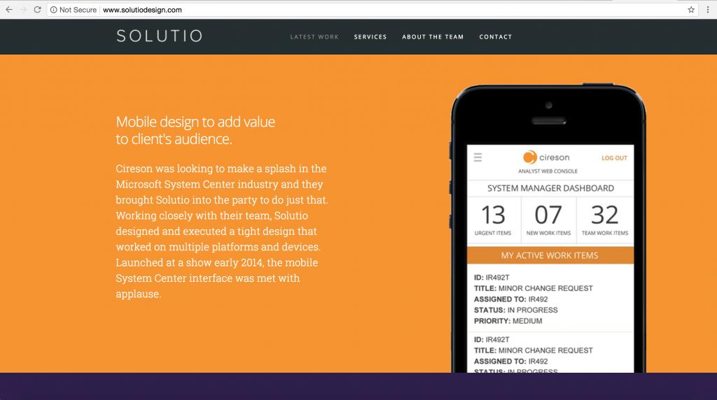 Solutio Design Brochure Website